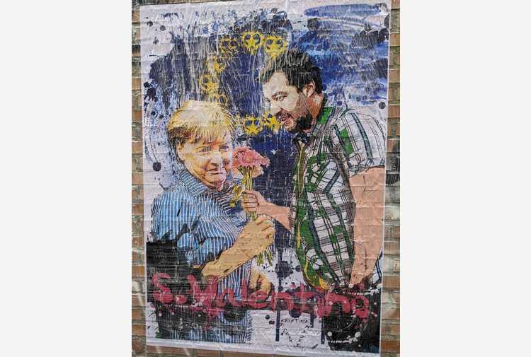 San Valentino: murales a Milano, Salvini dona fiori a Merkel
