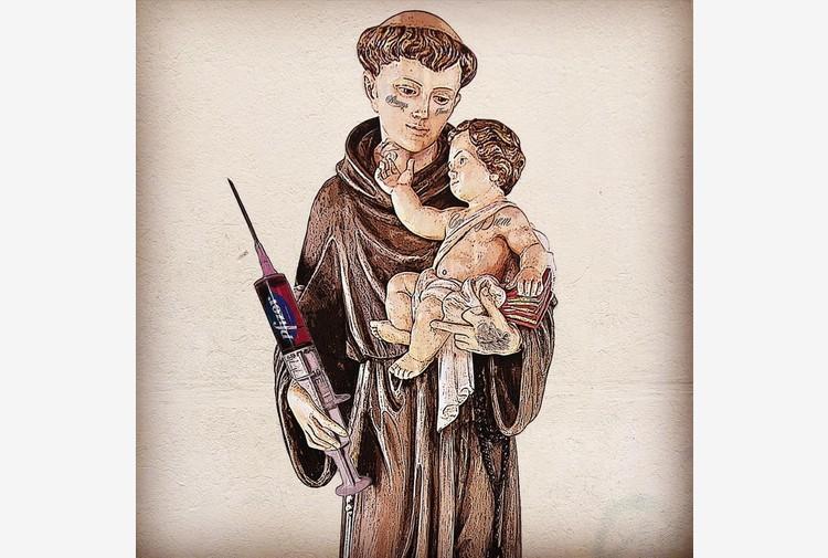 Arte: provocazione Evyrein, Sant'Antonio con in mano vaccino