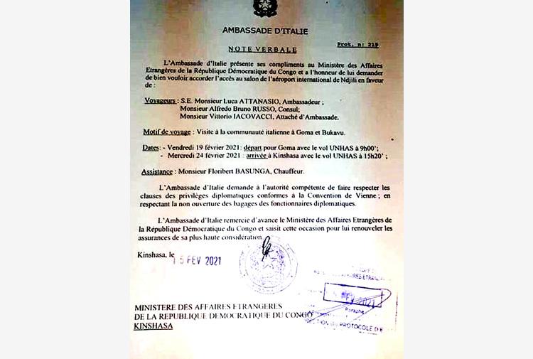 Attanasio avvisò il governo congolese del viaggio a Goma