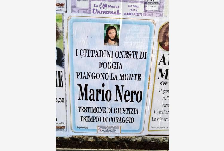 Mafia: a Foggia manifesti funebri ricordano testimone morto