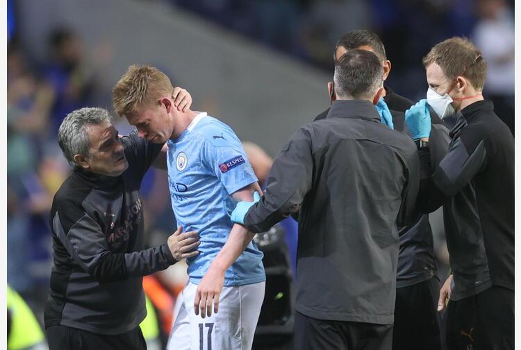 Champions: De Bruyne, ho setto nasale e orbita fratturati