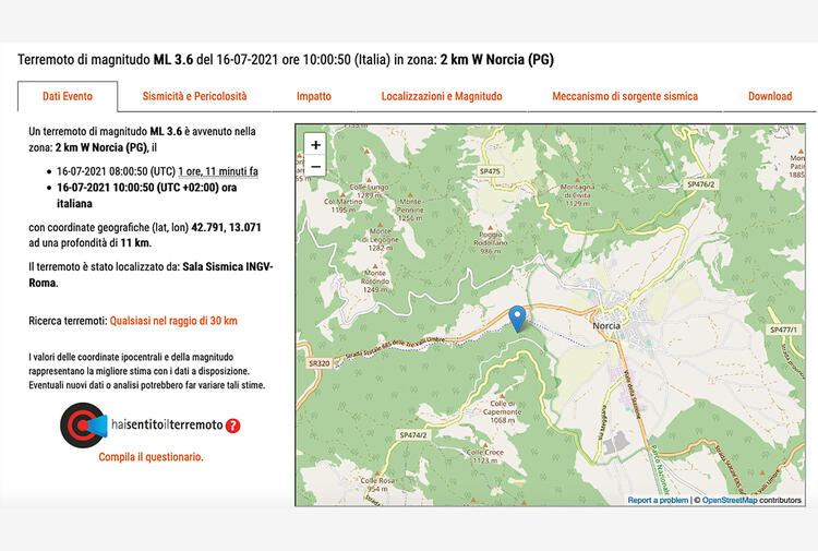 Terremoto: scossa in Umbria avvertita nel cratere Marche