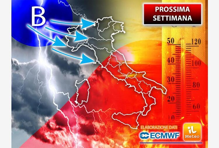 Da domenica 1 agosto Italia spaccata in due: temporali al Nord e caldo al Sud